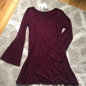 Dark red bell sleeve dress with FREE earrings